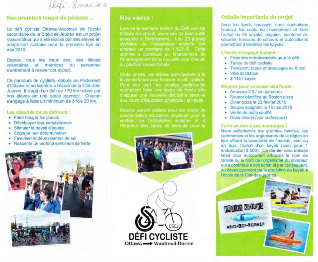 Défi cycliste Ottawa - Vaudreuil-Dorion ESCJ 2019 -2