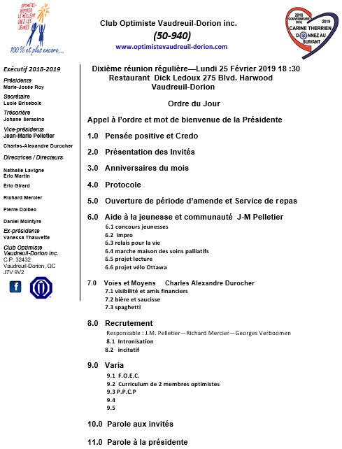 Ordre du jour club optimiste Vaudreuil-Dorion  lundi 25 février 2019